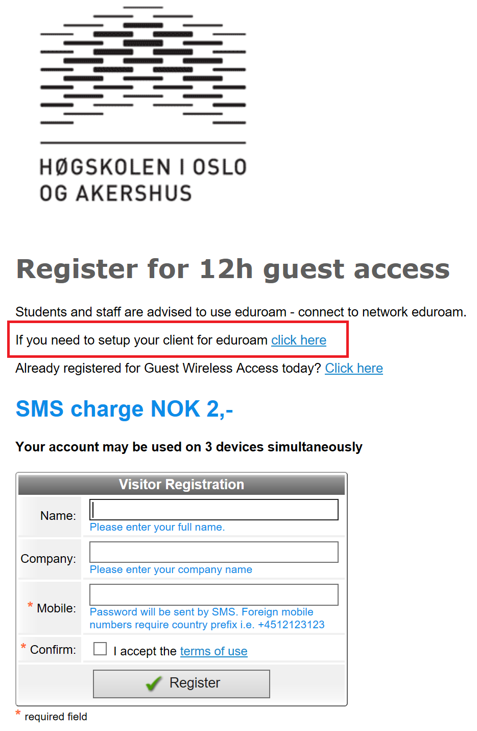 Skjermbilde: Velg If you need to setup... for å laste ned eduroam-profil med sertifikat.
