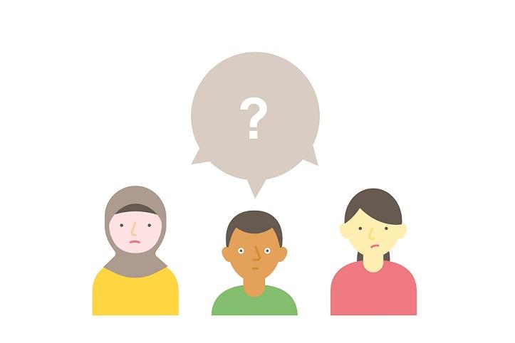 Tre animerte mennesker med et spørsmålstegn over hodet