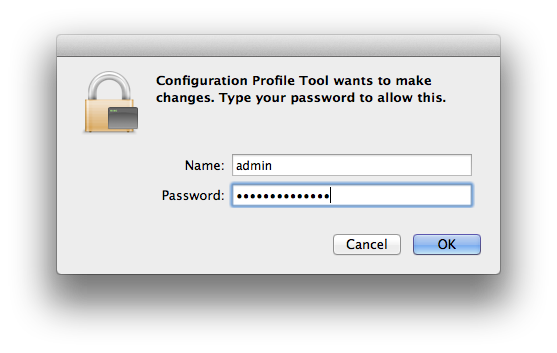 Screenshot: Login using your Mac's admin-username and password