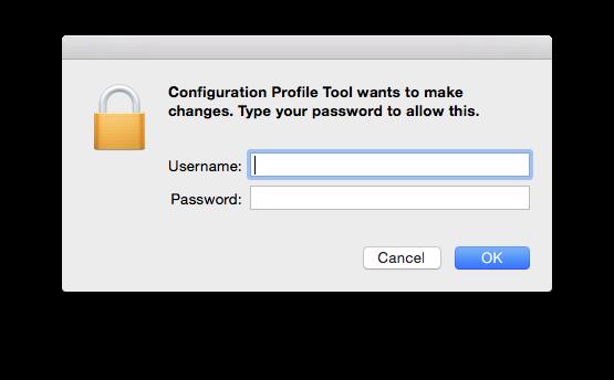 Skjermbilde for admin-brukernavn og passord på din Mac.