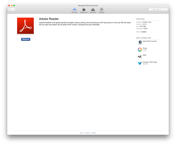 Skjermbilde: Adobe Reader er installert på Mac